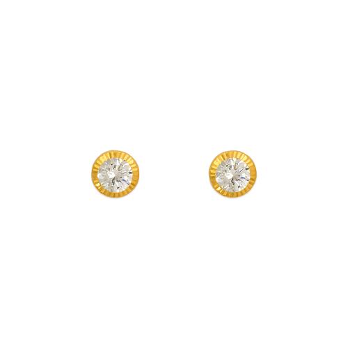 343-057 4mm Round D/C Bezel CZ Stud Earrings