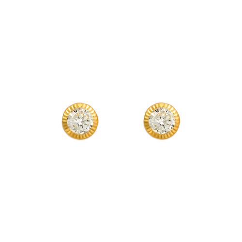 343-058 5mm Round D/C Bezel CZ Stud Earrings
