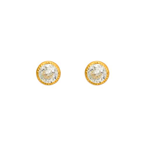 343-059 6mm Round D/C Bezel CZ Stud Earrings