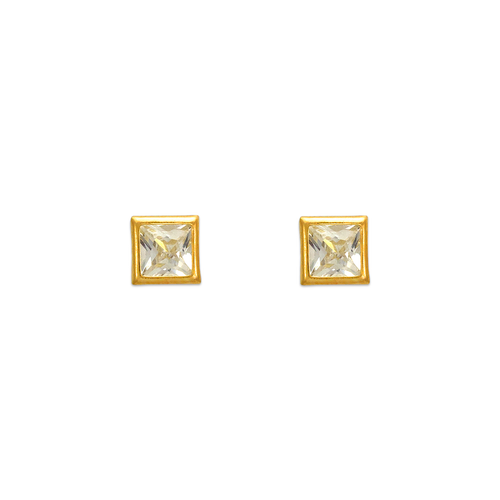 343-062 4mm Square Bezel CZ Stud Earrings