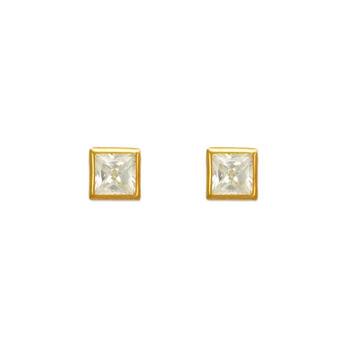 343-063 5mm Square Bezel CZ Stud Earrings