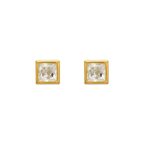 343-064 6mm Square Bezel CZ Stud Earrings
