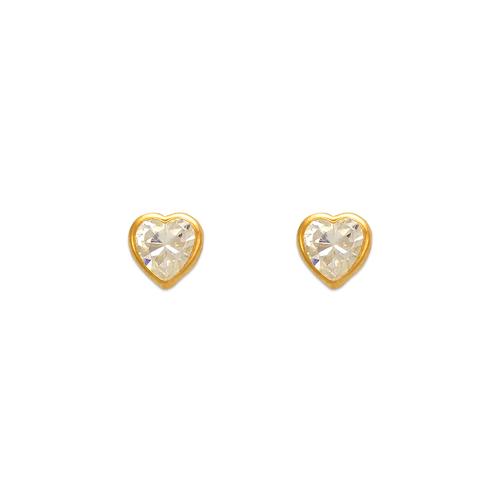 343-073 5mm Heart Bezel CZ Stud Earrings