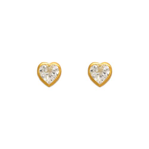343-074 6mm Heart Bezel CZ Stud Earrings