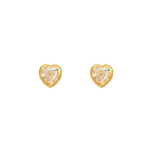 343-079 6mm Heart DC Bezel CZ Stud Earrings