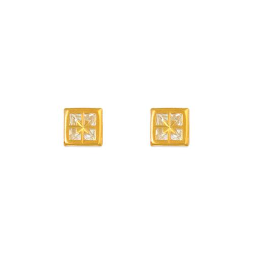 343-082 5mm Square Bezel CZ Stud Earrings