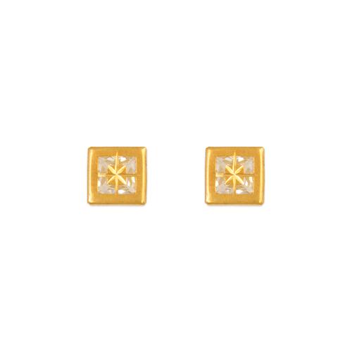 343-083 6mm Square Bezel CZ Stud Earrings