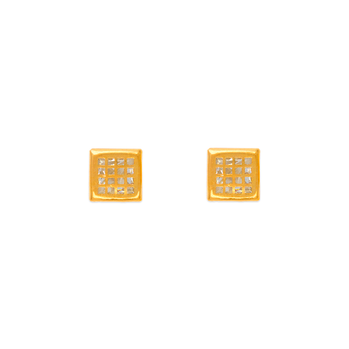 343-102 5mm Square Tiled CZ Stud Earrings