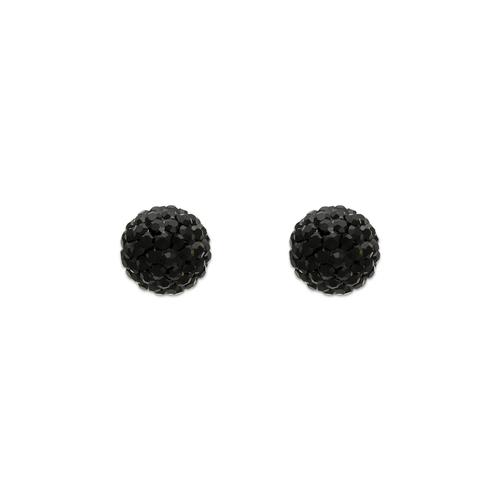 343-502BK 7mm Black Enamel Ball CZ Stud Earrings
