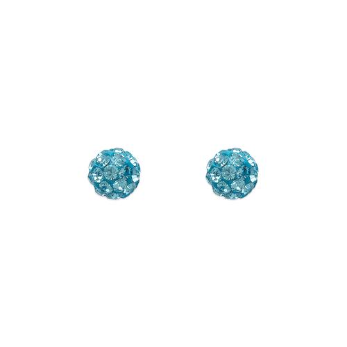 343-501BL 5mm Blue Ball Enamel CZ Stud Earrings