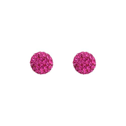 343-502PK 7mm Pink Ball Enamel CZ Stud Earrings