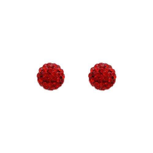 343-502RD 7mm Red Ball Enamel CZ Stud Earrings