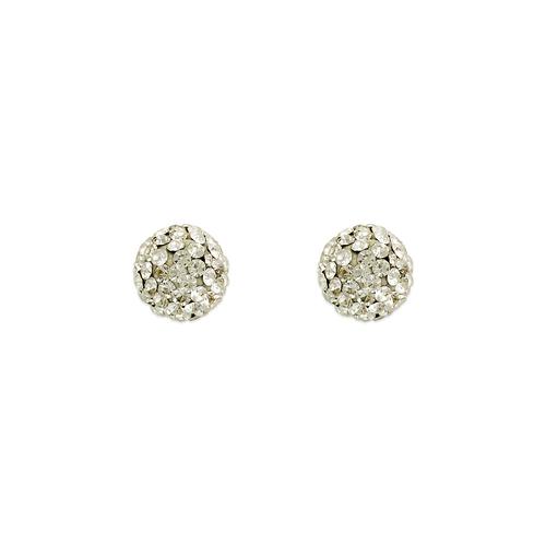 343-502WH 7mm Ball White Enamel CZ Stud Earrings