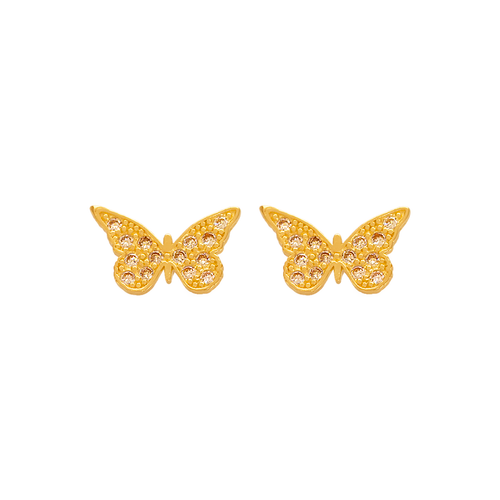 343-128 12mm Butterfly Pave CZ Stud Earrings