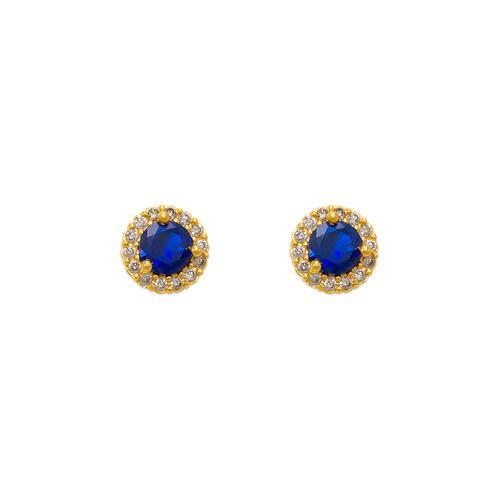 343-162BL 4mm Blue Round CZ Stud Earrings