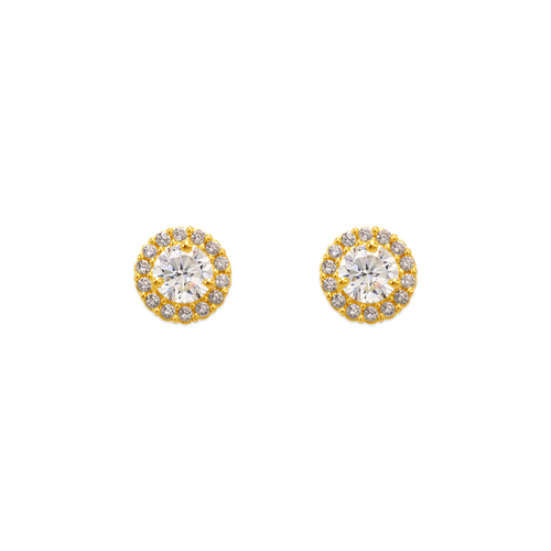 343-162WH 4mm Red Round CZ Stud Earrings