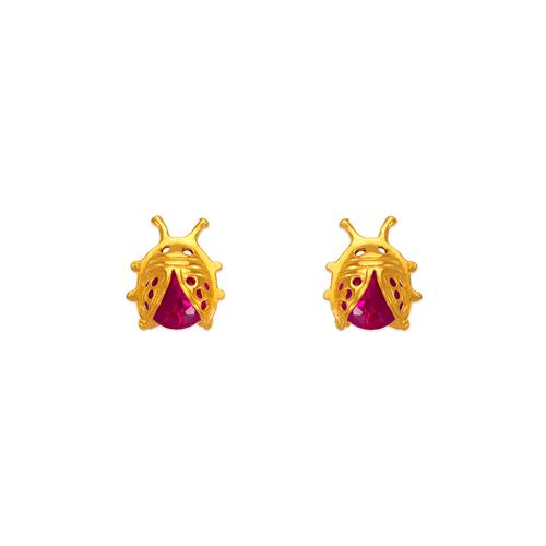 443-417 7mm Ladybug CZ Stud Earrings