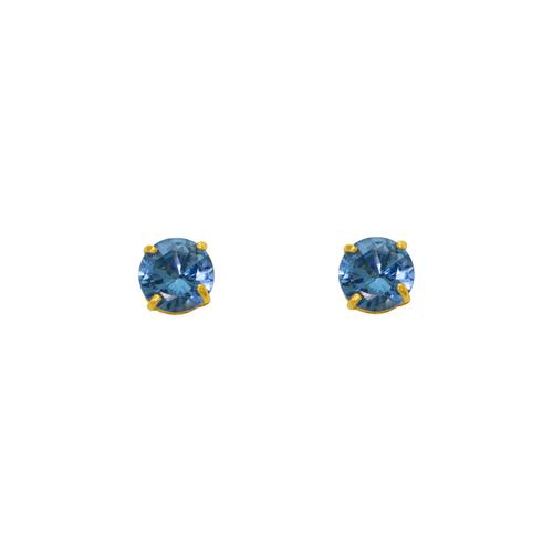 543-102MB Blue Zircon Birthstone CZ Screwback Stud Earrings