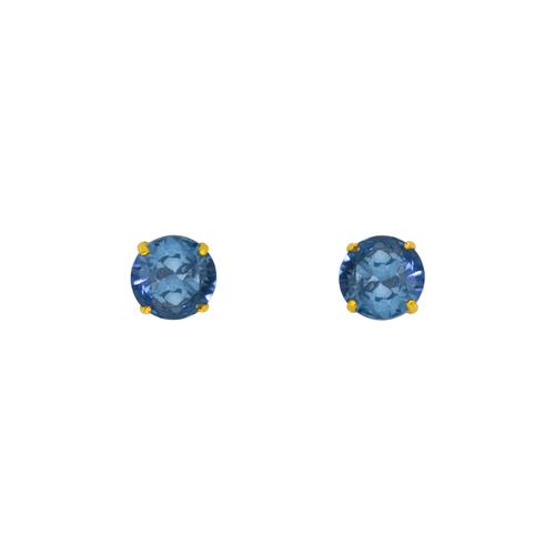 543-103MB Blue Zircon Birthstone CZ Screwback Stud Earrings
