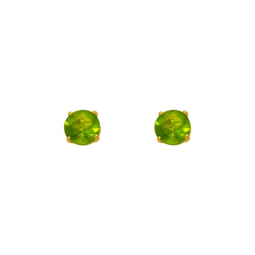 543-102LG Light Green Peridot Birthstone CZ Screwback Stud Earrings