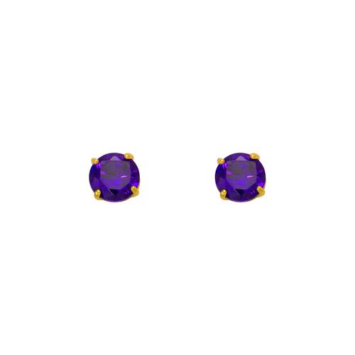 543-102PL Purple Amethyst Birthstone CZ Screwback Stud Earrings
