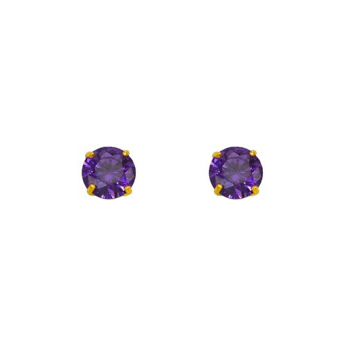 543-103PL Purple Amethyst Birthstone CZ Screwback Stud Earrings