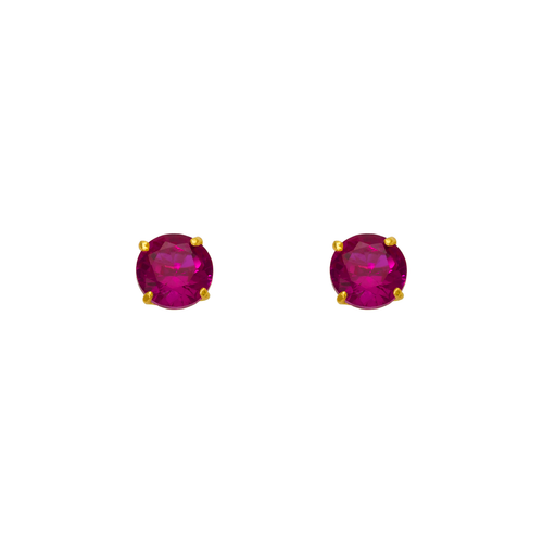 543-102RD Ruby Birthstone CZ Screwback Stud Earrings