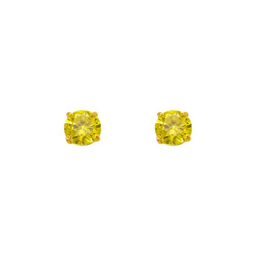 543-102YE Yellow Topaz Birthstone CZ Screwback Stud Earrings
