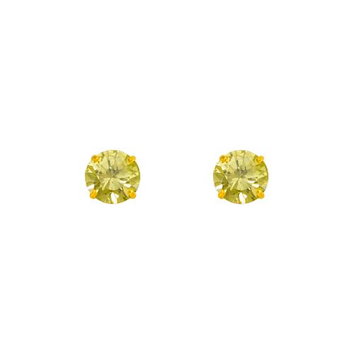 543-103YE Yellow Topaz Birthstone CZ Screwback Stud Earrings