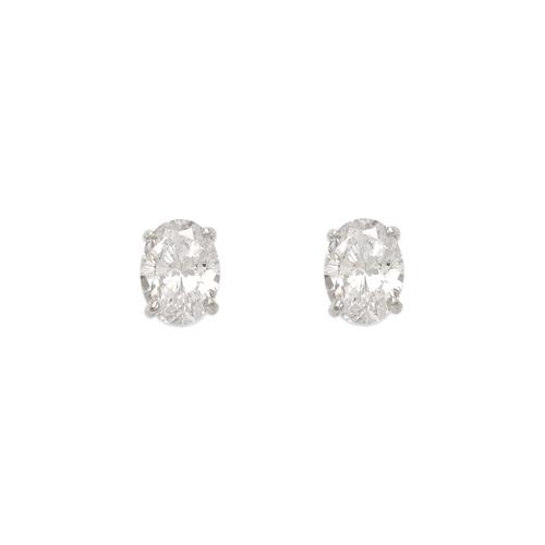 543-112W Oval Cut CZ Stud Earrings