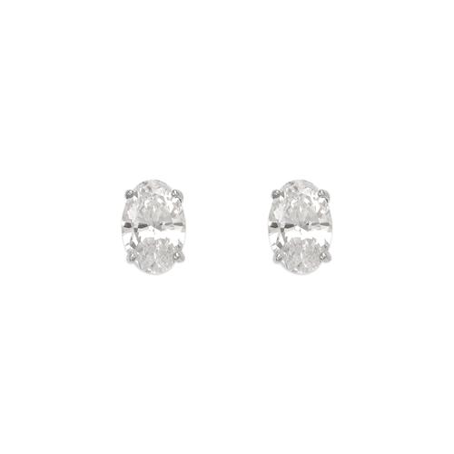 543-113W Oval Cut CZ Stud Earrings