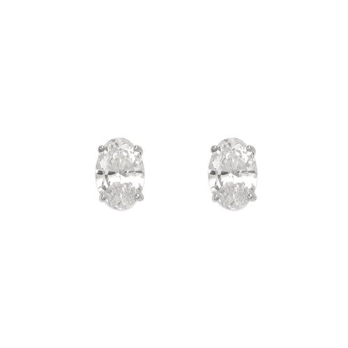 543-114W Oval Cut CZ Stud Earrings