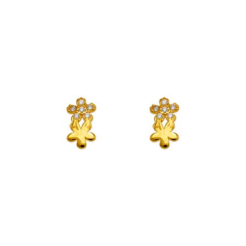 343-145 Double Flower Pave CZ Stud Earrings