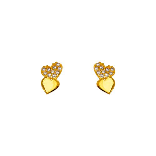 343-146 Double Heart Pave CZ Stud Earrings
