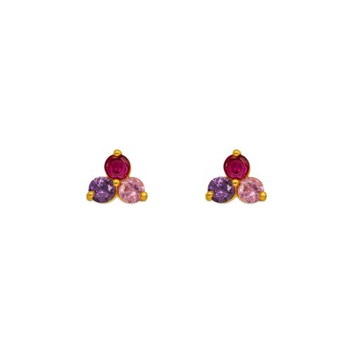 343-165MX Flower CZ Stud Earrings