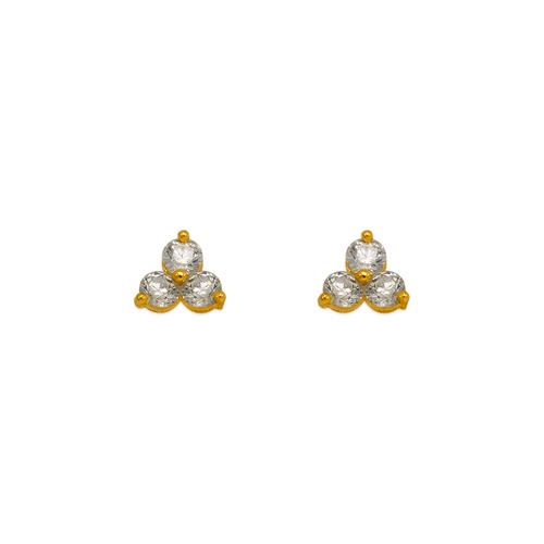 343-165WH Flower CZ Stud Earrings