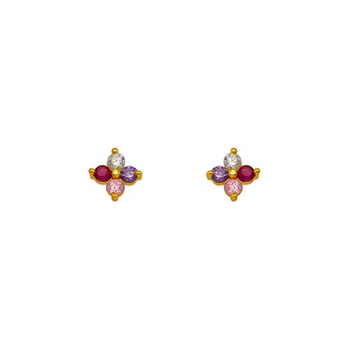 343-166MX Flower CZ Stud Earrings