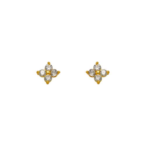 343-166WH Flower CZ Stud Earrings