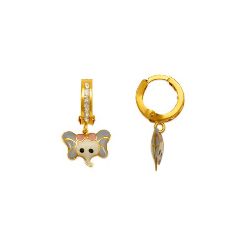 347-925 Baby Elephant Enamel Huggie Earrings