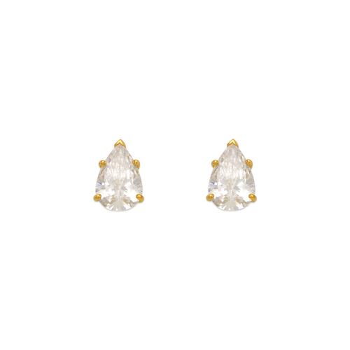 543-116 Teardrop Cut CZ Stud Earrings