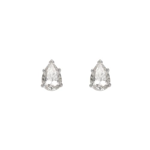 543-116W Teardrop Cut CZ Stud Earrings