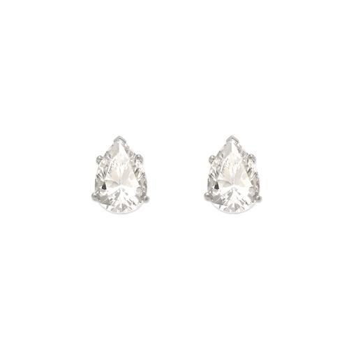 543-117W Teardrop Cut CZ Stud Earrings