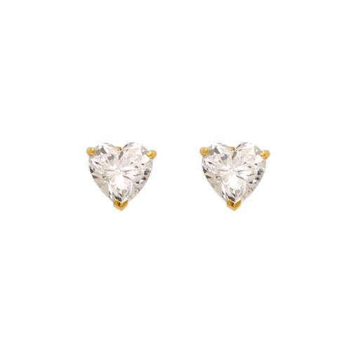 543-124 Heart Cut CZ Stud Earrings