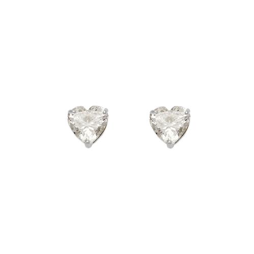 543-123W Heart Cut CZ Stud Earrings