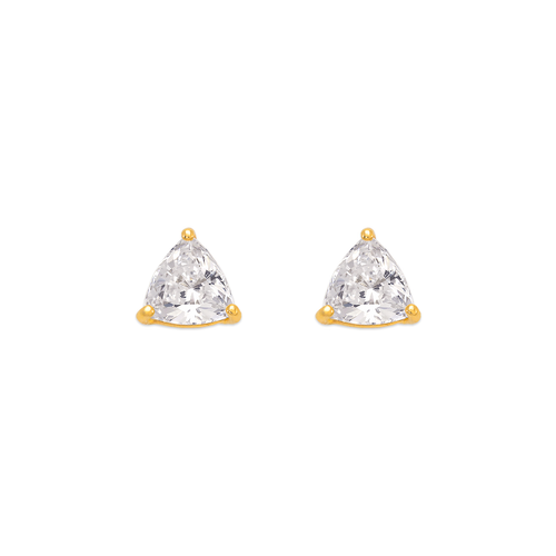 543-126 Rounded Triangle Cut CZ Stud Earrings