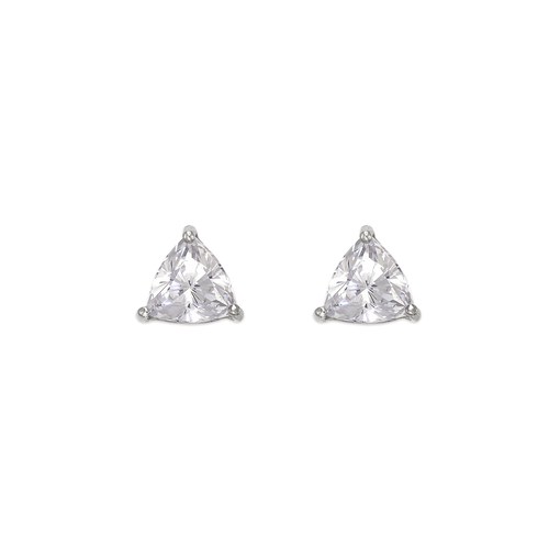 543-126W Rounded Triangle Cut CZ Stud Earrings