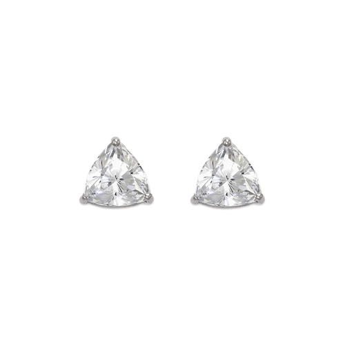 543-127W Rounded Triangle Cut CZ Stud Earrings