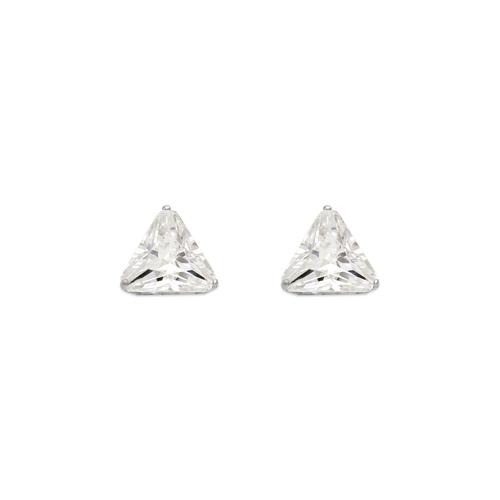 543-129W Triangle Cut CZ Stud Earrings