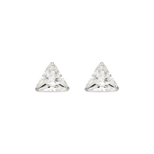 543-130W Triangle Cut CZ Stud Earrings