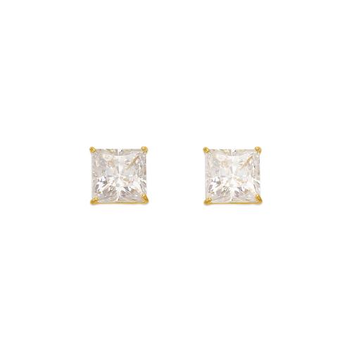543-133 Princess Cut CZ Stud Earrings
